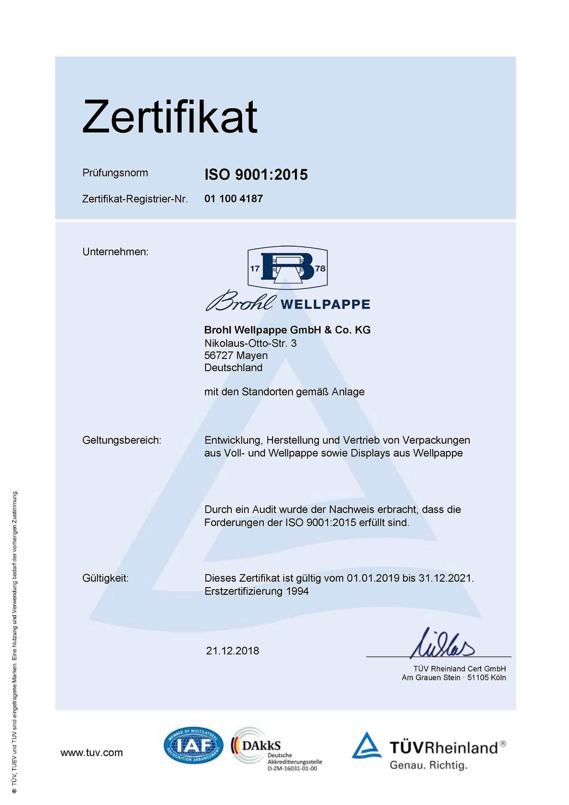 Zertifikat ISO9001 Brohl Wellpappe