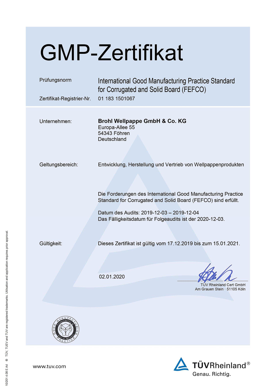 GMP Zertifikat Mayen Brohl Wellpappe