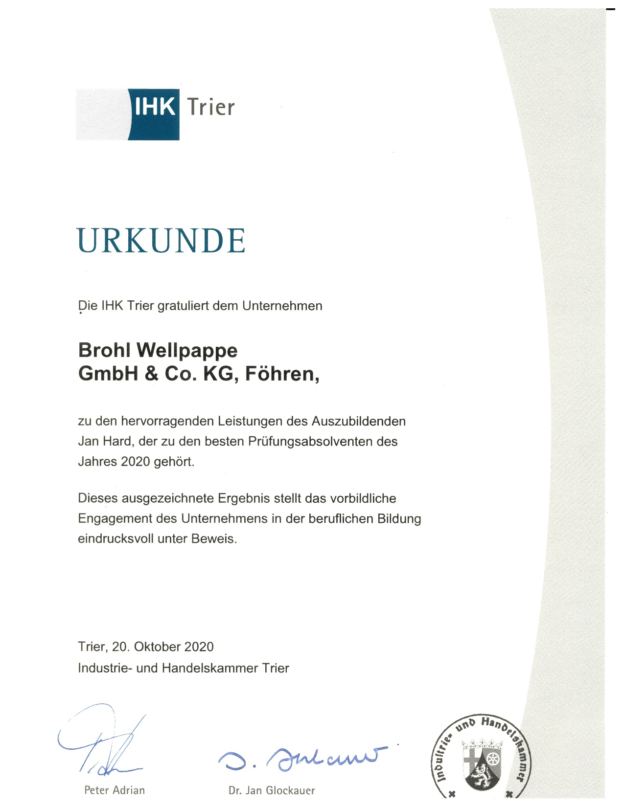 IHK Trier Auszeichnung Ausbildung bei Brohl Wellpappe Föhren